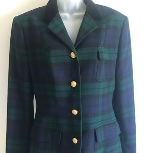 1980s Black Watch Plaid Ralph Lauren Womens Blazer